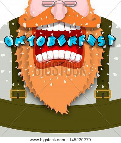 Shout Poster For Oktoberfest. Angry And Aggressive Man Shouts. Red Beard And Mustache. Bavarian Trad