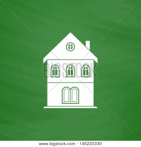 Simple old house. Flat Icon. Imitation draw with white chalk on green chalkboard. Flat Pictogram and School board background. Vector illustration symbol