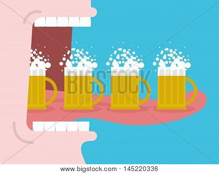 Alcoholism. Drinking Many Beer. Man Drinks Beer. Wide Open Mouth With Teeth And Tongue