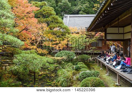 KYOTO JAPAN - NOVEMBER 18 2015 : Unidentified people visit Eikando temple in autumn. Eikando temple is one of the most popular attraction in Kyoto Japan.