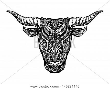 Ethnic ornamented bull, ox, minotaur taurus Vector illustration