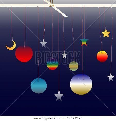 Planets, stars and moon