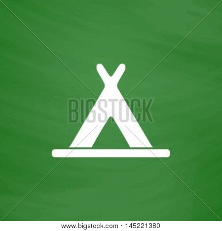 Wigwam. Flat Icon. Imitation draw with white chalk on green chalkboard. Flat Pictogram and School board background. Vector illustration symbol