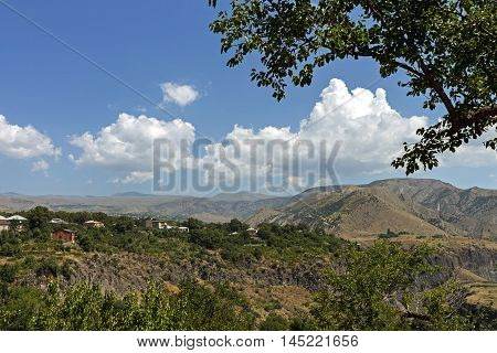 Landscape in Armenian mountains, village Garni, Transcaucasia.