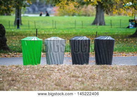 Different types of garbage bins for trash sorting