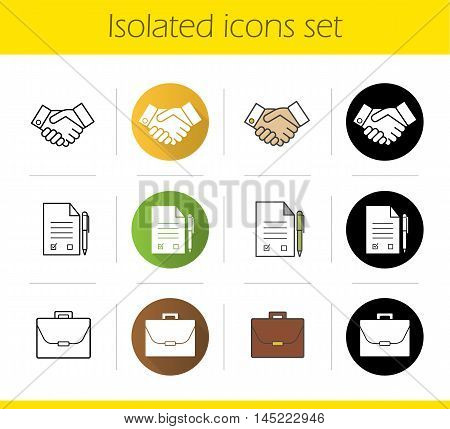 Business icons set. Flat design, linear, black and color styles. Negotiations. Briefcase, signed contract with pen and handshake symbols. Business agreement. Isolated vector illustrations