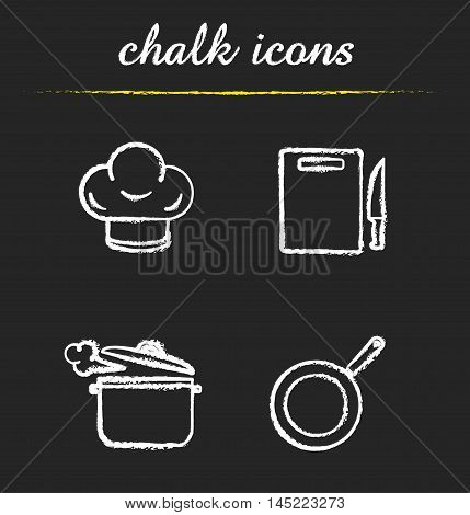 Kitchenware icons set. Chef's hat, cutting board with knife, steaming saucepan and frying pan illustrations. Kitchen utensils. Isolated vector chalkboard drawings