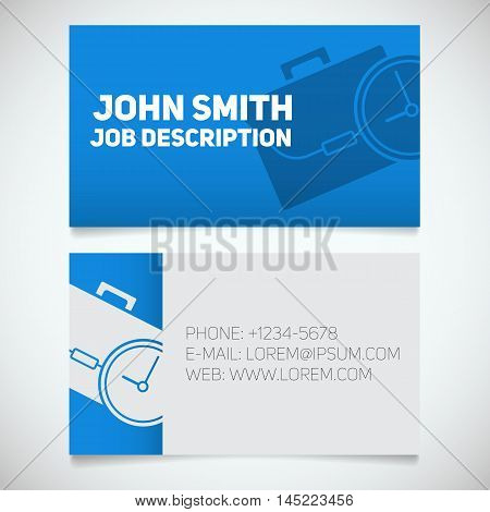 Business card print template with briefcase and clock logo. Easy edit. Manager. Work management. Stationery design concept. Vector illustration
