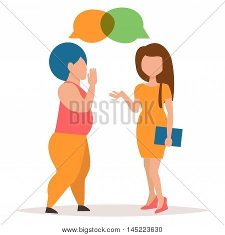 Two girls gossiping. Conversation couple women. Cartoon character. Vector isolated illustration.
