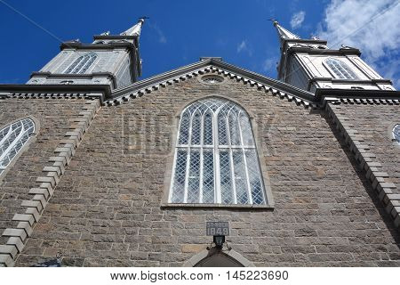 SAINT DES-AULNAIES QUEBEC CANADA 08 24 2016: Saint-Roch-des-Aulnaies church is a heritage and natural municipality bordered by the St. Lawrence.