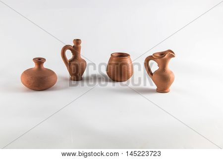 clay pot isolated on white background, art design
