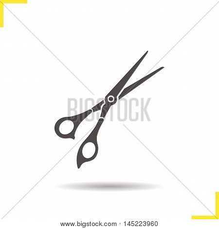 Scissors icon. Drop shadow silhouette symbol. Shears. Negative space. Vector isolated illustration