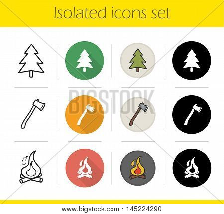 Camping icons set. Flat design, linear, black and color styles. Fir tree, axe, burning campfire with firewood. Isolated vector illustrations