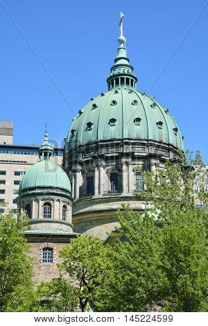 MONTREAL QUEBEC CANADA AUGUST 30 2016: Dome of the Cathedral-Basilica of Mary, Queen of the World in Montreal, Quebec, Canada, is the seat of the Roman Catholic archdiocese of Montreal.