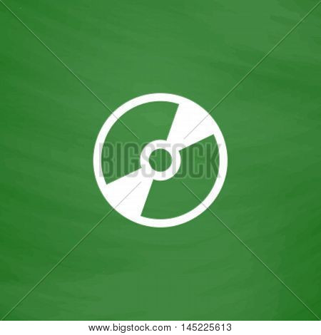 CD or DVD. Flat Icon. Imitation draw with white chalk on green chalkboard. Flat Pictogram and School board background. Vector illustration symbol