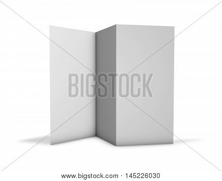 Trifold brochure pamphlet mock up standing on floor isolated on white.