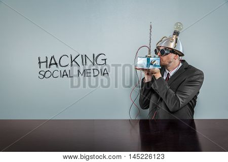Hacking social media text with vintage businessman kissing machine