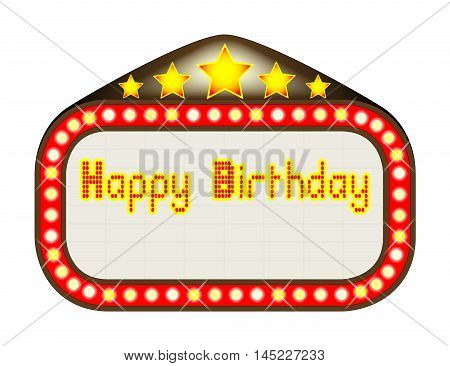 A happy birthday movie theatre or theatre marquee.