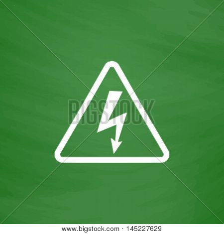 High voltage Flat Icon. Imitation draw with white chalk on green chalkboard. Flat Pictogram and School board background. Vector illustration symbol