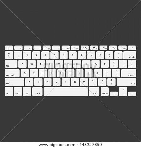 white Keyboard Stroke QWERTY - Isolated Vector Illustration.