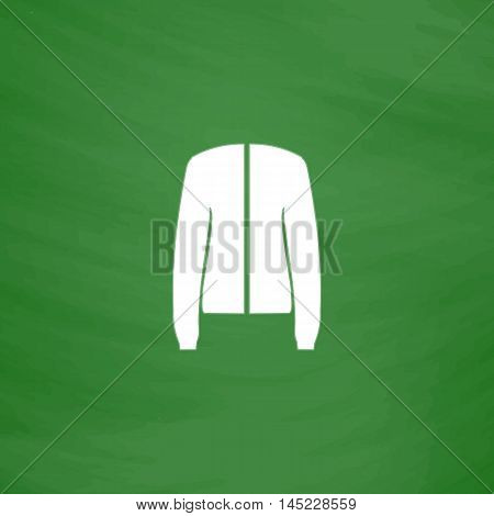 Jacket. Flat Icon. Imitation draw with white chalk on green chalkboard. Flat Pictogram and School board background. Vector illustration symbol