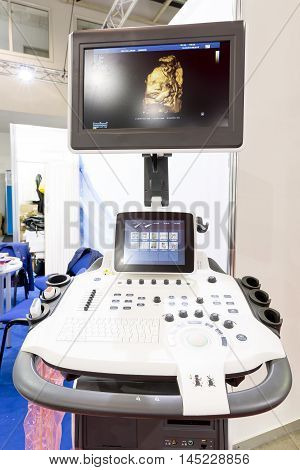Modern Echocardiography (ultrasound) Machine Monitor. Colour Image. New Hospitl Equipment For A Bett