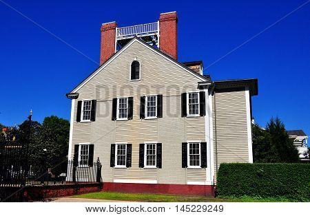 New Bern North Carolina - April 24, 2016:  Wooden gray clapboard 1835 Dixon House at Tryon Palace *