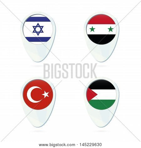 Israel, Syria, Turkey, Palestine Flag Location Map Pin Icon.