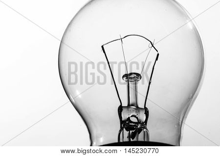close up of an incandescent tungsten light bulb