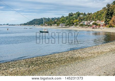 A view of the shoreline in West Seattle Washington near Lincoln Park.