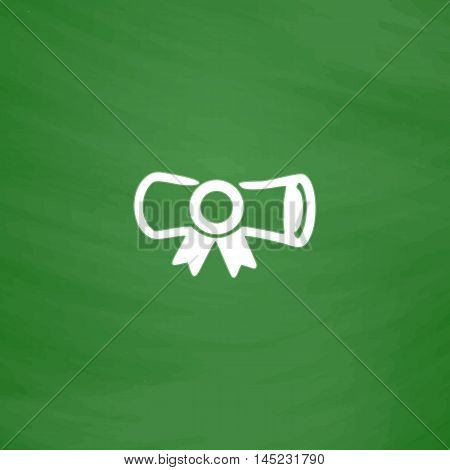 Diploma. Flat Icon. Imitation draw with white chalk on green chalkboard. Flat Pictogram and School board background. Vector illustration symbol