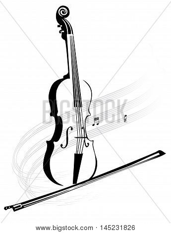 Stylized violin musical instrument with a bow and note stave
