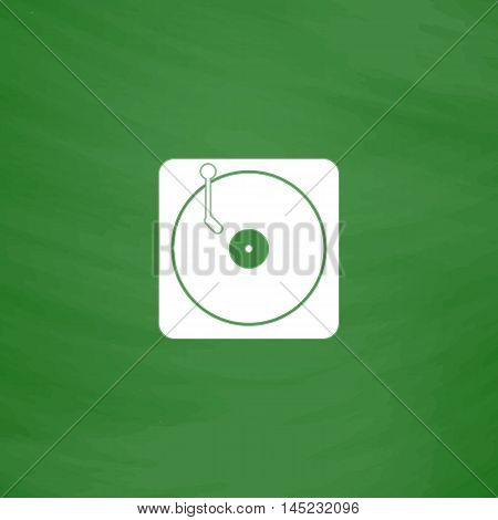 Turntable dj. Flat Icon. Imitation draw with white chalk on green chalkboard. Flat Pictogram and School board background. Vector illustration symbol