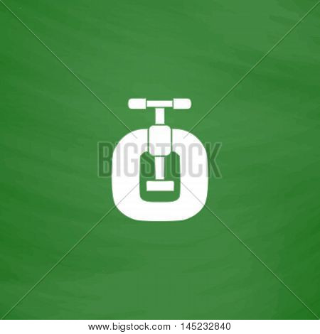 Bench vices. Flat Icon. Imitation draw with white chalk on green chalkboard. Flat Pictogram and School board background. Vector illustration symbol
