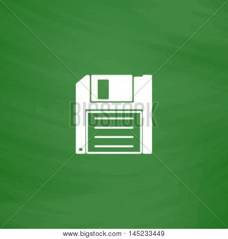 Diskette Save. Flat Icon. Imitation draw with white chalk on green chalkboard. Flat Pictogram and School board background. Vector illustration symbol