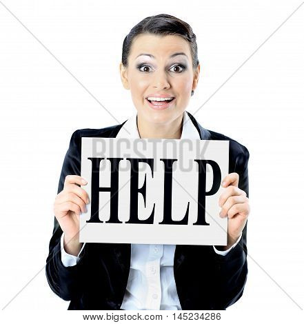 Beautiful businesswoman requests with the poster for help.