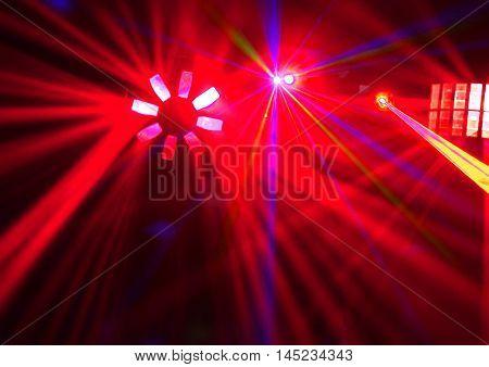Disco. beautiful Laser show in a nightclub