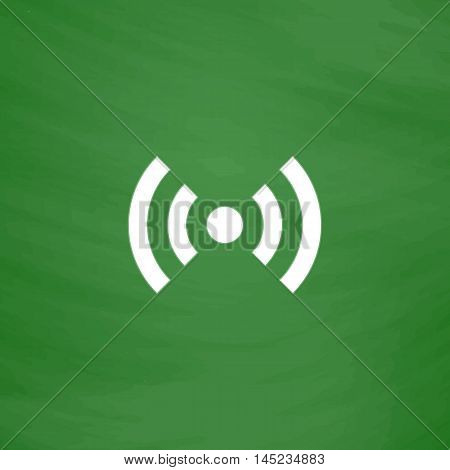 Flat Wi-Fi. Flat Icon. Imitation draw with white chalk on green chalkboard. Flat Pictogram and School board background. Vector illustration symbol