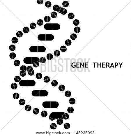 Gene therapy concept. Vector illustration of DNA helix formed by drug pills