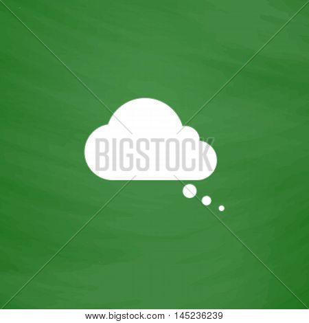 Cloud thought. Flat Icon. Imitation draw with white chalk on green chalkboard. Flat Pictogram and School board background. Vector illustration symbol
