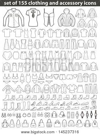 Set of 155 Line Icons: Clothing, Shoes and Accessories. Women's and Men's Fashion.
