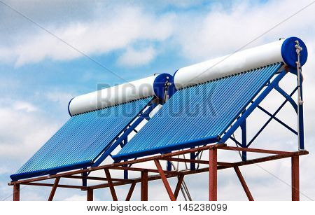 solar water heaters on the roof close up.