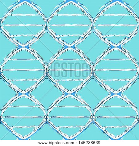 Liquid dna seamless pattern. Vector illustration of flowing double helix in blue colors