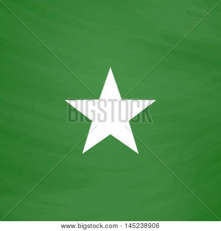 Clasic star. Flat Icon. Imitation draw with white chalk on green chalkboard. Flat Pictogram and School board background. Vector illustration symbol