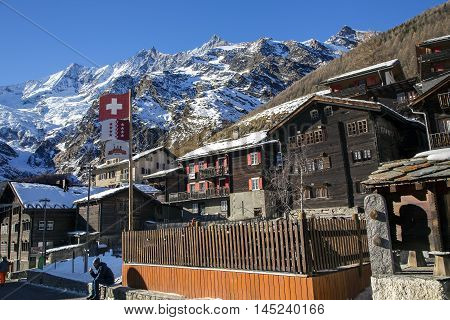 SWITZERLAND, SAAS-FEE, DECEMBER, 26, 2015 - Modern hotels in the charming Swiss resort of Saas-Fee, Switzerland