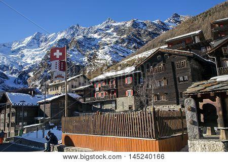SWITZERLAND, SAAS-FEE, DECEMBER, 26, 2015 - Modern hotels in the charming Swiss resort of Saas-Fee, Switzerland