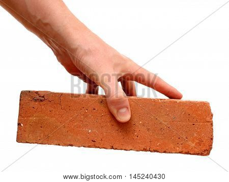 Red brick in hand isolated on white background