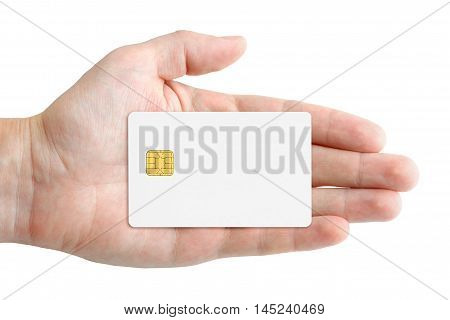 Credit card mock-up in hand isolated on white background