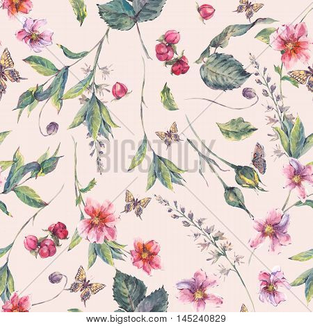 Watercolor vintage floral seamless background with pink wildflowers and butterflies, natural botanical watercolor illustration