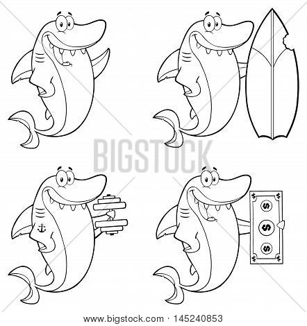 Black And White Shark Cartoon Character 1. Collection Set Isolated On White Background